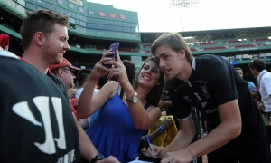 Selfies and autographs at Fenway