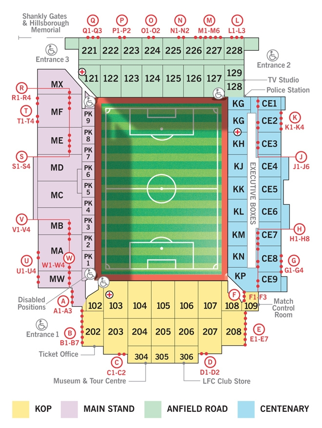 Anfield Seating Plan Liverpool Fc