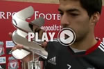 Luis Suarez is named Standard Chartered Player of the Month for October.